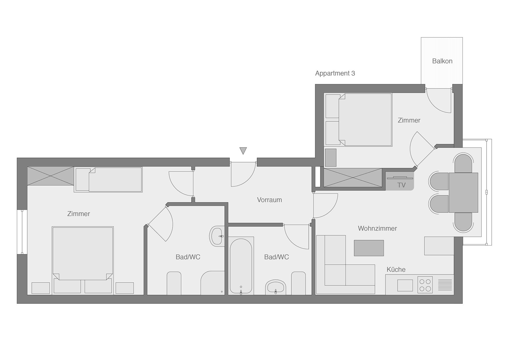Die Appartements im Haus Martin Tschol / Appartements Sankt Anton ...